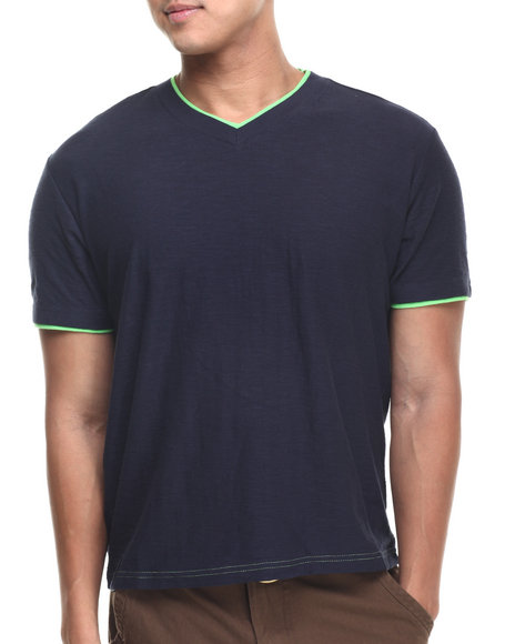 Basic Essentials - Men Navy V-Neck Tee W/Contrast Double Layer Collar & Cuff - $9.99