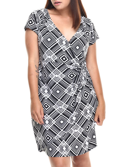 Fashion Lab - Women Black,White Geo Print Mock Wrap Dress (Plus)