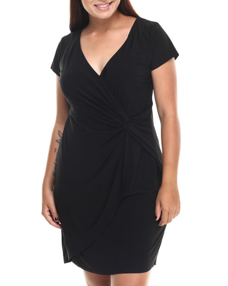 Paperdoll - Women Black Little Mock Wrap Dress (Plus) - $17.99