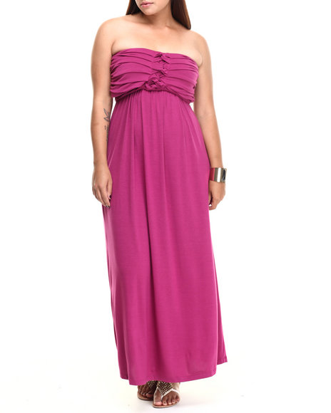 Paperdoll Dark Pink Pleated Bust Strapless Maxi Dress (Plus Size)