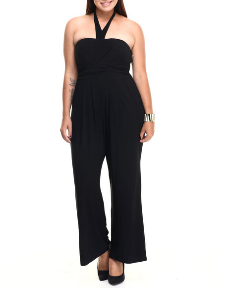 Paperdoll - Women Black Strapless Halter Pockets Wide Leg Jumpsuit (Plus) - $17.99