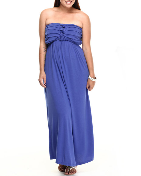 Paperdoll Blue Pleated Bust Strapless Maxi Dress (Plus Size)