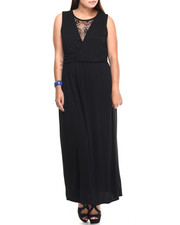 Dresses - Lace Insert Surplice Maxi Dress (Plus)