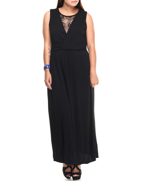 Paperdoll - Women Black Lace Insert Surplice Maxi Dress (Plus) - $9.99