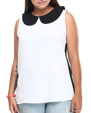 Women - Hilary Sleeveless Peter Pan Collared Chiffon Top (Plus)