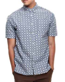 Buyers Picks - COLLAR PRINT CHAMBRAY BUTTON FRONT WOVEN SHIRT