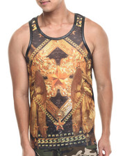 Men - Barocoo Mesh Perfarated Faux Leather tank top