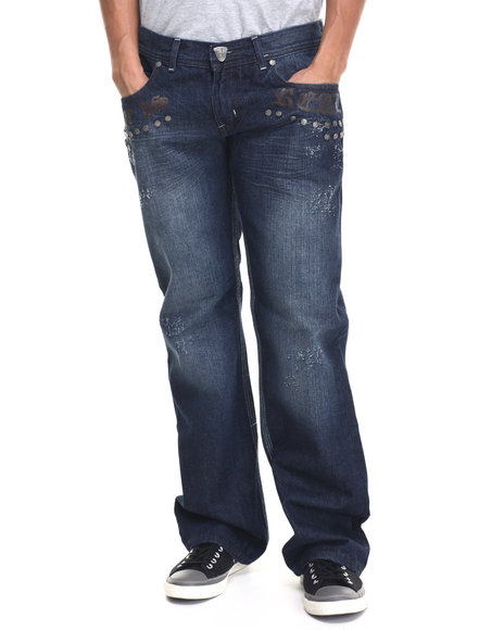 Blac Label Medium Wash Life Is Real Studded Denim Jeans