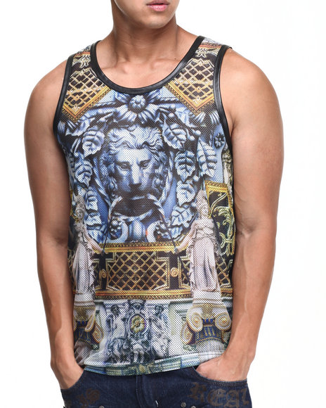 Akademiks - Men Black Medici Mesh Perforated Faux Leather Tank Top - $15.99