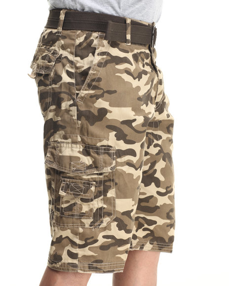 Basic Essentials - Men Beige Multi Pocket Cargo Shorts With Belt - $23.99