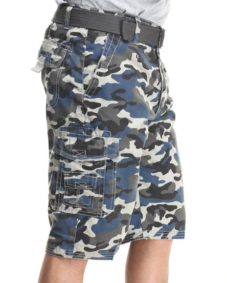 Basic Essentials - Men Blue Multi Pocket Cargo Shorts With Belt