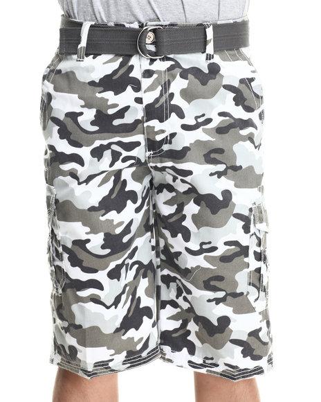 Basic Essentials White Multi Pocket Cargo Shorts With Belt