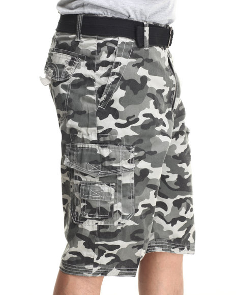 Basic Essentials - Men Grey Multi Pocket Cargo Shorts With Belt