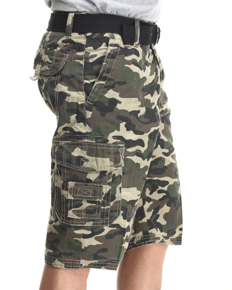 Basic Essentials - Men Camo Multi Pocket Cargo Shorts With Belt