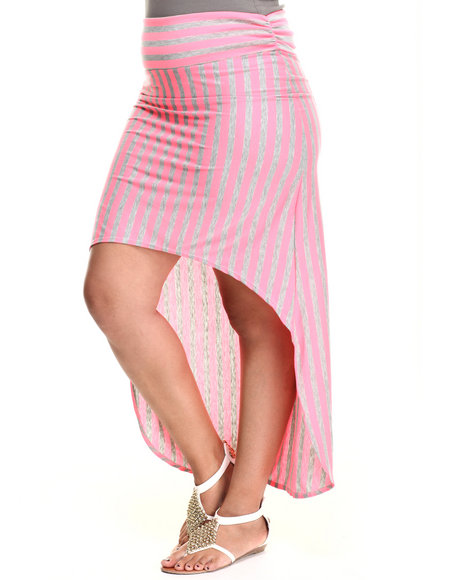 Fashion Lab - Women Pink King Fish High Low Skirt (Plus) - $13.99