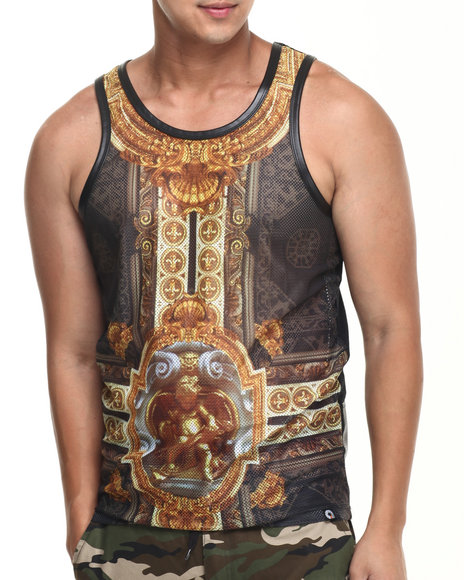 Akademiks - Men Black Greca Mesh Perforated Faux Leather Tank Top