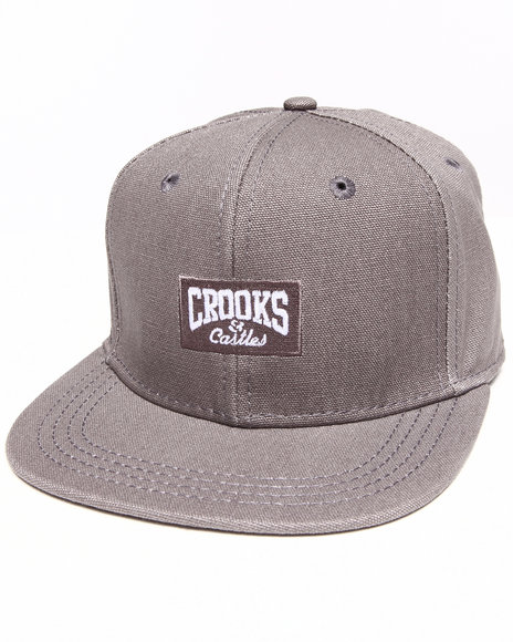 Crooks & Castles Men Core Logo Strapback Grey - $24.99