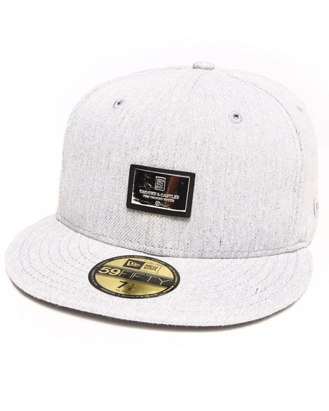 Crooks & Castles - Men Grey Thuxury Logo Badge Fitted Cap - $28.99