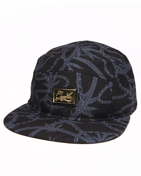 Crooks & Castles Men Chainleaf 5 Panel Cap Black - $30.00
