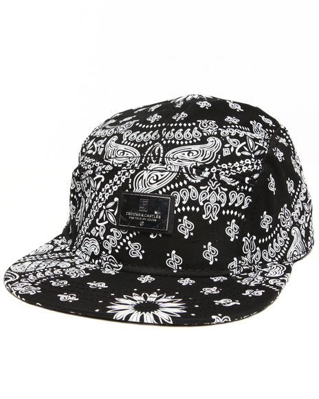 Crooks & Castles Bandit Woven 5 Panel Strapback Cap Black