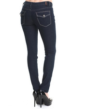 Fashion Lab - RHINESTONE FLAP BACK POCKET SKINNY JEANS