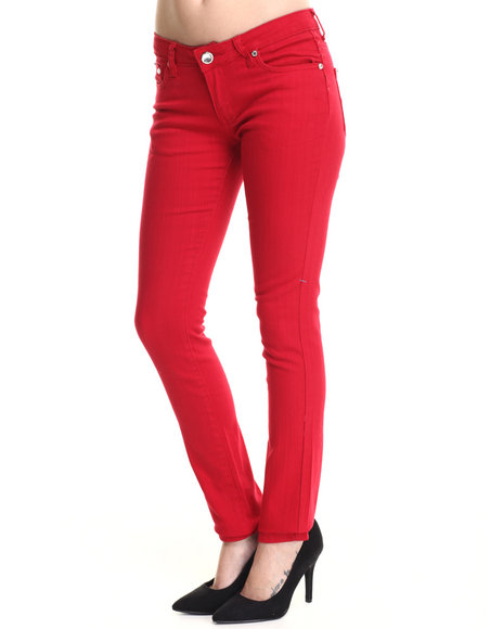 Basic Essentials - Women Red Basic 5 Pocket Jeans