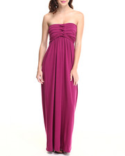 Women - Pleated Bust Strapless Maxi Dress