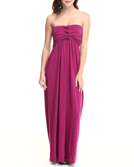 Paperdoll Dark Red Pleated Bust Strapless Maxi Dress