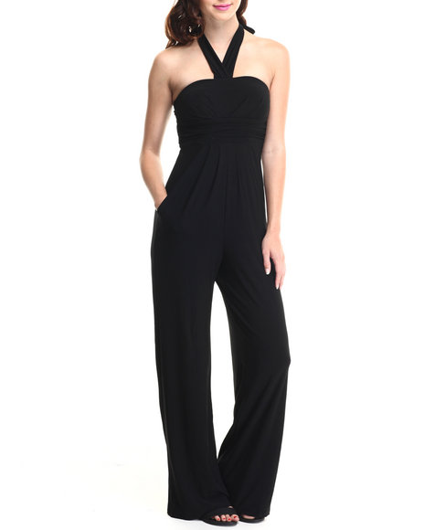 Paperdoll - Women Black Strapless Halter Pockets Wide Leg Jumpsuit - $17.99