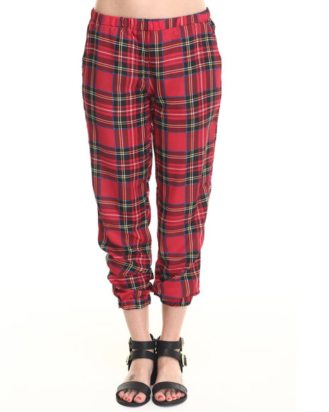 Ali & Kris - Women Red Plaid Smocked Soft Pant - $16.99