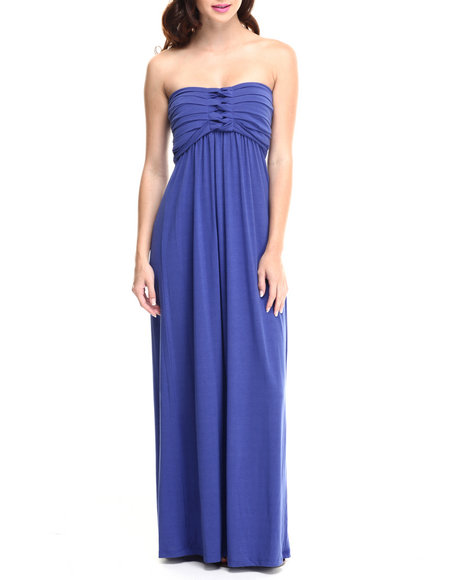 Paperdoll - Women Blue Pleated Bust Strapless Maxi Dress - $16.99