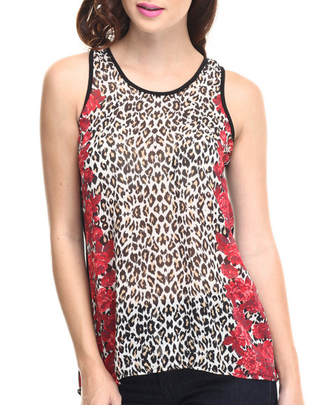 Ali & Kris - Women Animal Print Animal Floral Chiffon Front Knit Back Hi-Lo Top