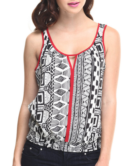 ALI & KRIS Black,White Aztec Smocked Waist Open Back Top