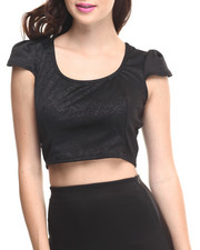 Tops - Textured Cropped Top