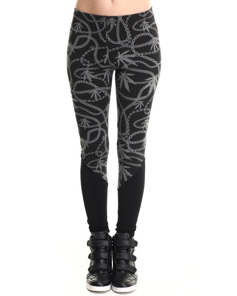 Crooks & Castles Black Chain Leaf Legging W/ Solid Bottom Panel