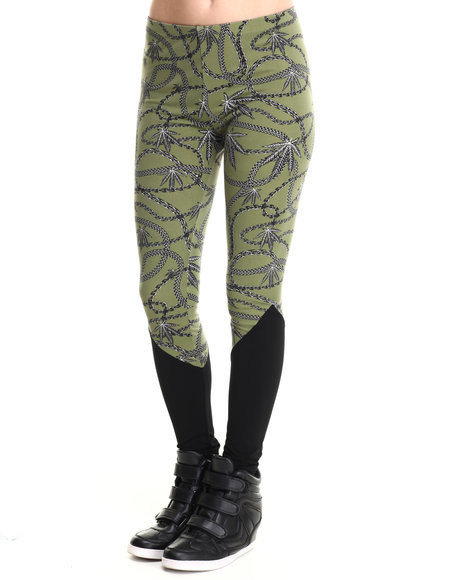 Crooks & Castles Black,Olive Chain Leaf Legging W/ Solid Bottom Panel