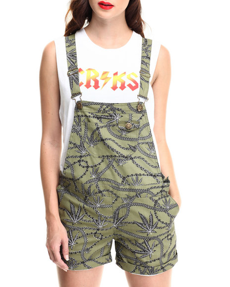 Crooks & Castles Olive Chain Leaf Woven Overall Shorts