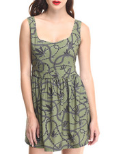 Crooks & Castles - Chain Leaf Skater Dress w/ Cinched Waist & Fitted Top