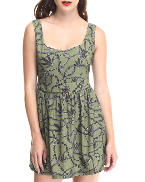 Crooks & Castles - Women Olive Chain Leaf Skater Dress W/ Cinched Waist & Fitted Top - $38.99