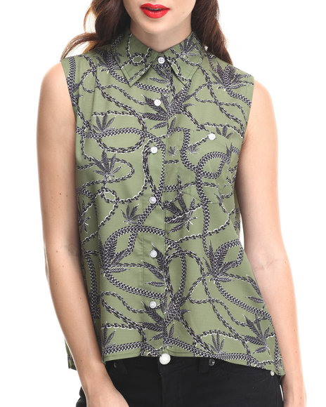 Crooks & Castles - Women Olive Sleeveless Chain Leaf Button Down W/ Chest Pocket - $31.99
