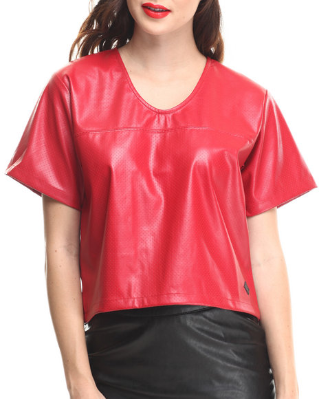 Crooks & Castles - Women Red Scorch Lightweight Vegan Leather Football Jersey - $36.99