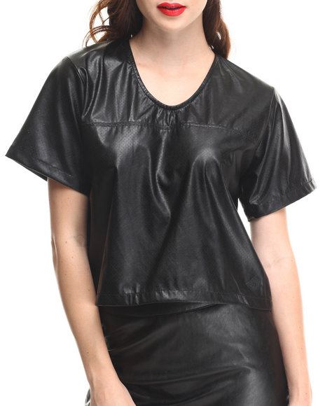 Crooks & Castles Black Scorch Lightweight Vegan Leather Football Jersey