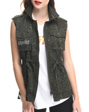 Women - Undertaker Sleeveless Woven Vest w/ Drawstring Waist