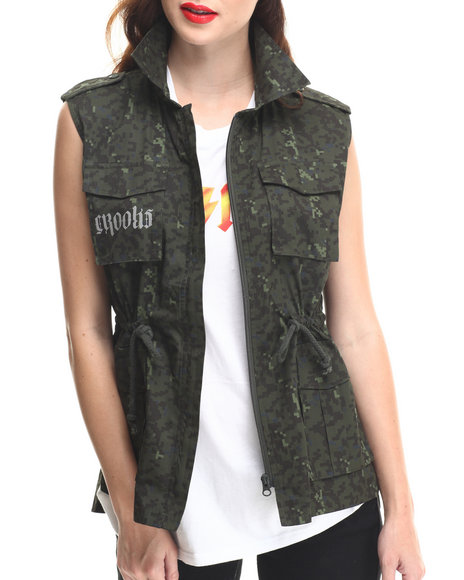 Crooks & Castles - Women Camo,Olive Undertaker Sleeveless Woven Vest W/ Drawstring Waist - $46.99