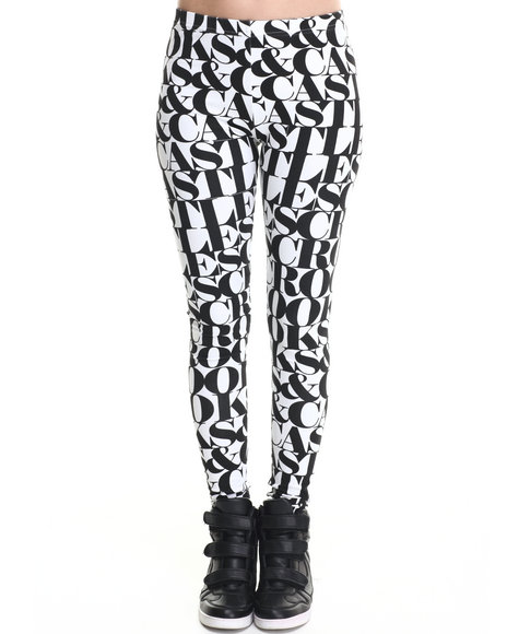 Crooks & Castles Black,White Headliner Allover Lettering Knit Leggings