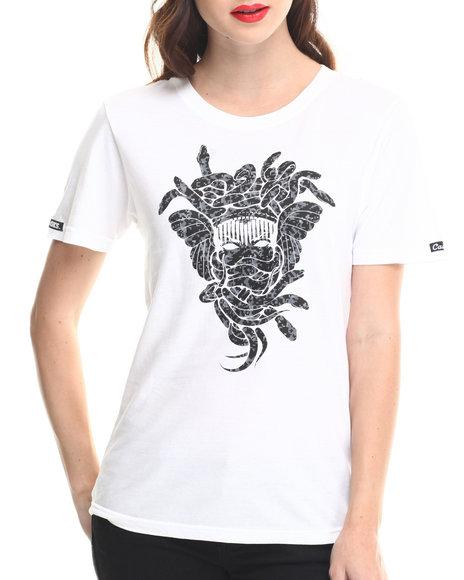 Crooks & Castles - Women White Digi Camo Madusa Logo Tee