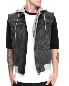 Black Apple - Acid Wash Hoodie Vest w/ Patch