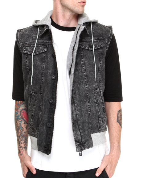 Black Apple - Men Black Acid Wash Hoodie Vest W/ Patch - $128.99