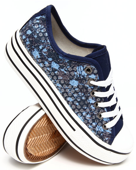 Fashion Lab - Women Blue Benna Low Top Basic Sneaker - $22.99