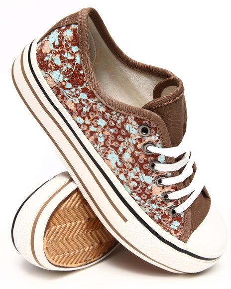 Fashion Lab - Women Tan Benna Low Top Basic Sneaker